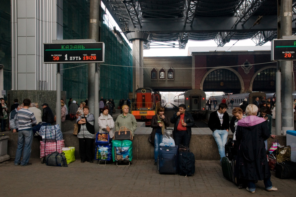 Unser Zug nach Kasan abfahrtsbereit auf dem Kasaner Bahnhof in Moskau