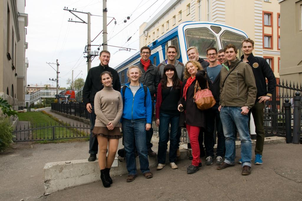 Ankunft an der staatlichen Universität für Verkehrswesen in Omsk