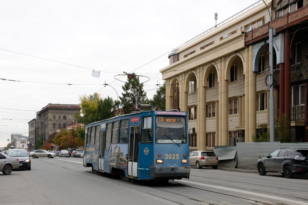 Eine Straßenbahn in Nowosibirsk