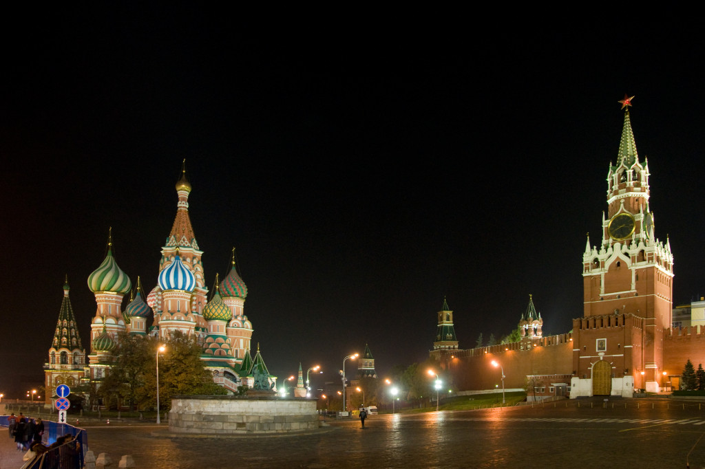 Zurück in Moskau, der rote Platz bei Nacht