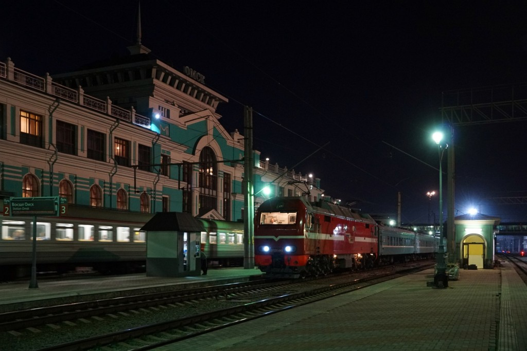 Unser Zug nach Astana vor der Abfahrt in Omsk