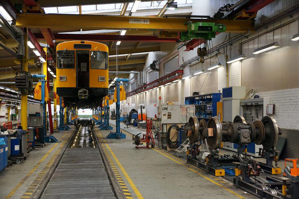 Im Betriebshof Friedrichsfelde der Berliner Verkehrsbetriebe BVG