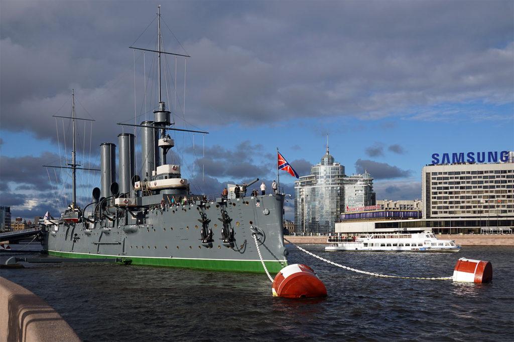 """Geschichtsträchtiges Schiff: Panzerkreuzer """"Aurora"""", dessen Matrosen die Russische Revolution in Gang setzten"""