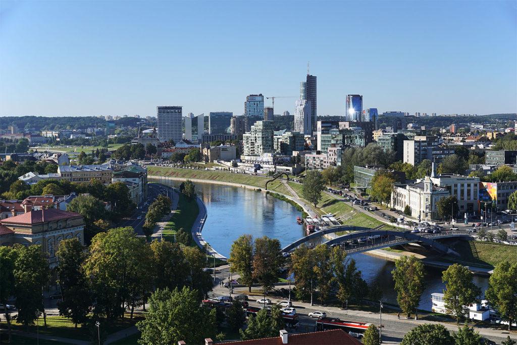 Blick auf den modernen Teil der Innenstadt von Vilnius